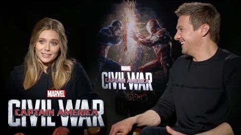 Elizabeth Olsen and Jeremy Renner on Marvel's Captain America Civil War