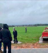 WandaVision farm scene BTS