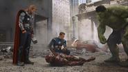 Vengadores Cap, Iron Man, Hulki y Thor