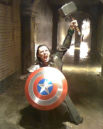 Loki with Mjolnir and Shield The Avengers BTS