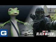 The Gecko Rides Along With Black Widow - GEICO Insurance