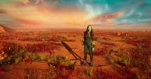Gamora en el desierto del Planeta de Ego