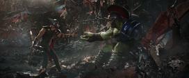 Thor intenta arrullar a Hulk