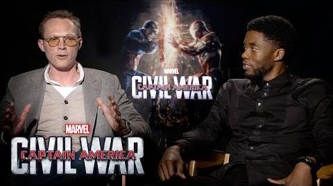 Paul Bettany and Chadwick Boseman on Marvel's Captain America Civil War