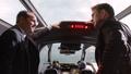 Coulson y Capitan America en un Quinjet