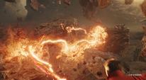 Strange y Thanos peleando en Titán