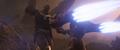 Stark a punto de golpear a Thanos