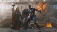 Thor y Capitán América en Nueva York