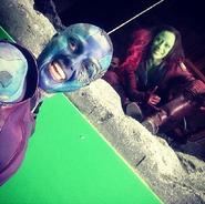 Gamora and Nebula stunts GOTG 1 BTS