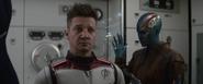 Hawkeye wearing time travel suit
