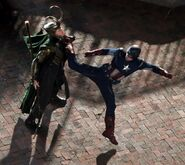 Avengers filming captain-loki fight