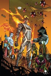 Light Brigade (Earth-616), Jonathan Storm (Earth-616) and Annihilus (Earth-616) from Fantastic Four Vol 1 600 0001
