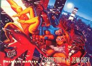 Jean Grey (Earth-616) and Victor Creed (Earth-616) from Ultra X-Men (Trading Cards) 1995 001