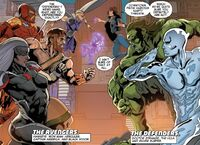 Avengers (Earth-23291) and Defenders (Earth-23291) from Secret Wars 2099 Vol 1 3 0001.jpg