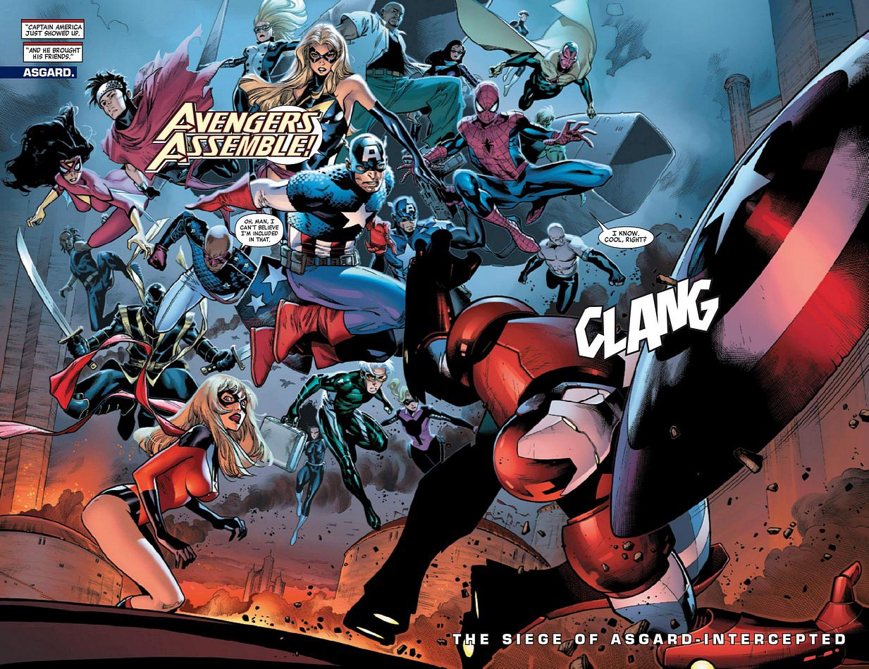 Steven Rogers (Earth-616), New Avengers (Earth-616), Young Avengers (Earth-616), Secret Warriors (Earth-616), and Dark Avengers (Earth-616) from Siege Vol 1 3 0001.jpg