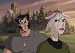 James Howlett (Earth-8096) and Rogue (Earth-8096) from Wolverine and the X-Men (animated series) Season 1 1 0001.png