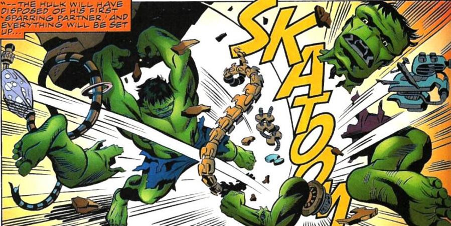 Bruce Banner (Earth-7642) and Hulk Robot (Earth-7642) from Incredible Hulk vs. Superman Vol 1 1 001.jpg
