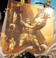 Avengers (Earth-616), Proxima Midnight (Earth-616), and Thanos (Earth-616) from Infinity Vol 1 6 001