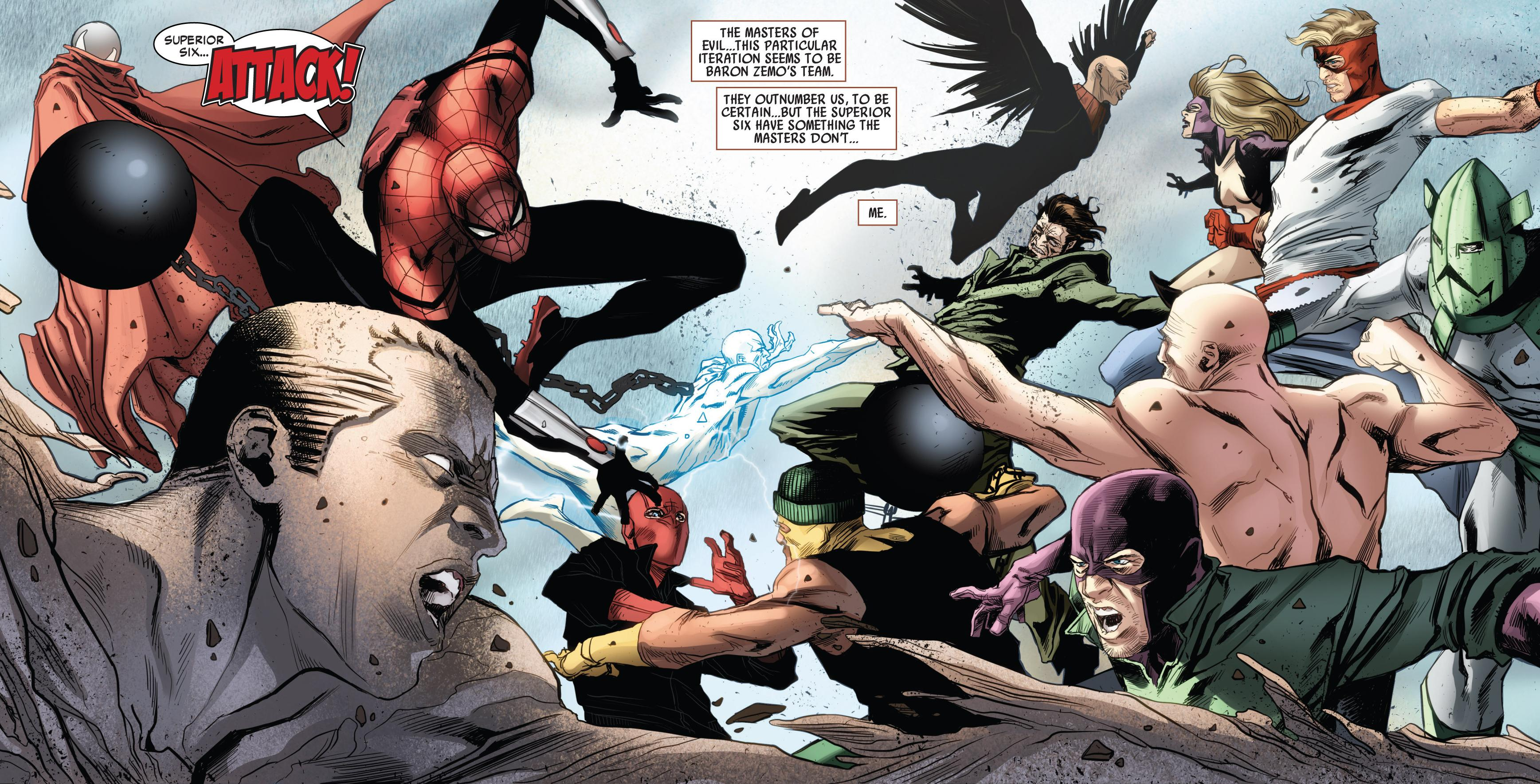 Superior Six (Earth-616) vs. Masters of Evil (Earth-616) from Superior Spider-Man Team-Up Vol 1 6 001.jpg
