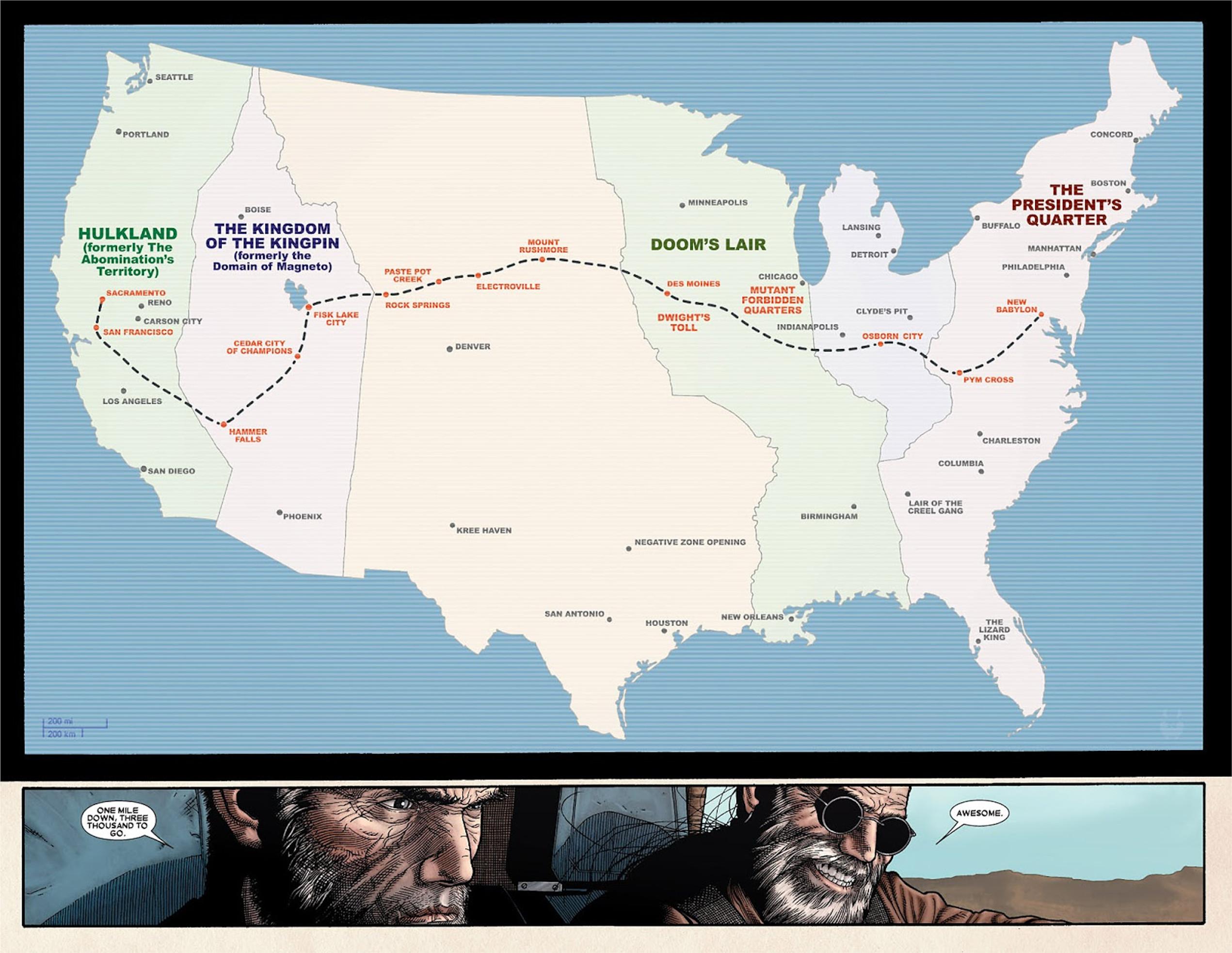 Old Man Logan Us Map Earth 807128 | Marvel Database | Fandom