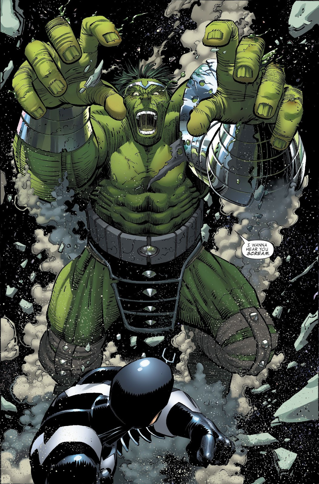Bruce Banner (Earth-616) and Blackagar Boltagon (Skrull) (Earth-616) from World War Hulk Vol 1 1 0001.jpg