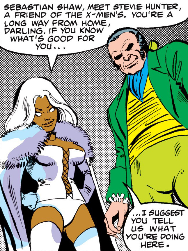 Ororo Munroe (Earth-616) and Sebastian Shaw (Earth-616) from Uncanny X-Men Vol 1 152 001.jpg
