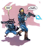 Rocket Raccoon (Earth-616) and Peter Quill (Earth-616) from Annihilation Conquest - Starlord Vol 1 4 001