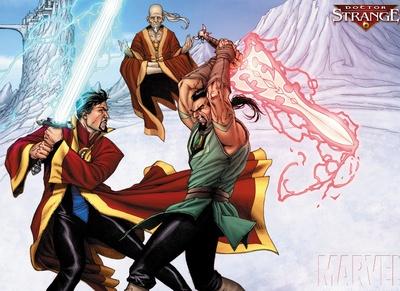 Stephen Strange (Earth-2772), Karl Mordo (Earth-2772), and Yao (Earth-2772) from Doctor Strange The Sorcerer Supreme Promo 001.jpg