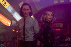 Loki Laufeyson (Earth-TRN732) and Sylvie Laufeydottir (Earth-TRN866) from Loki (TV series) Season 1 3.jpg