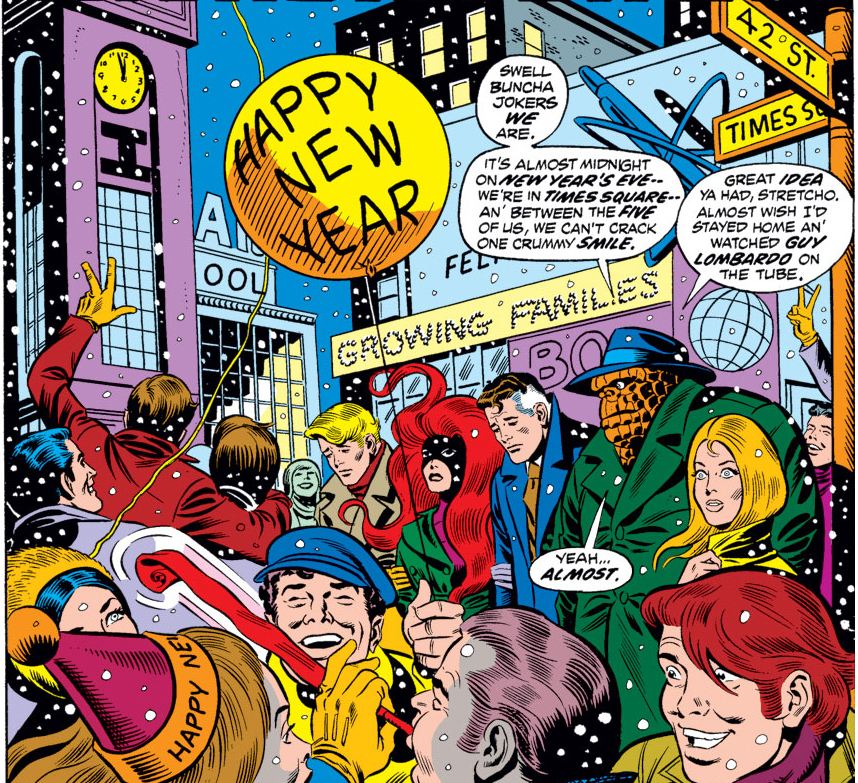 Fantastic Four (Earth-616) and Alicia Masters (Earth-616) ring in the New Year from Fantastic Four Vol 1 133 001.jpg