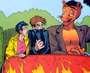 Jubilation Lee (Earth-616), Jonothon Starsmore (Earth-616) and Elwood (Pooka) (Earth-616) from Generation X Vol 1 36 001