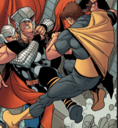 Marcus Milton (Earth-13034) and Thor Odinson (Earth-616) from Avengers Vol 5 27 002