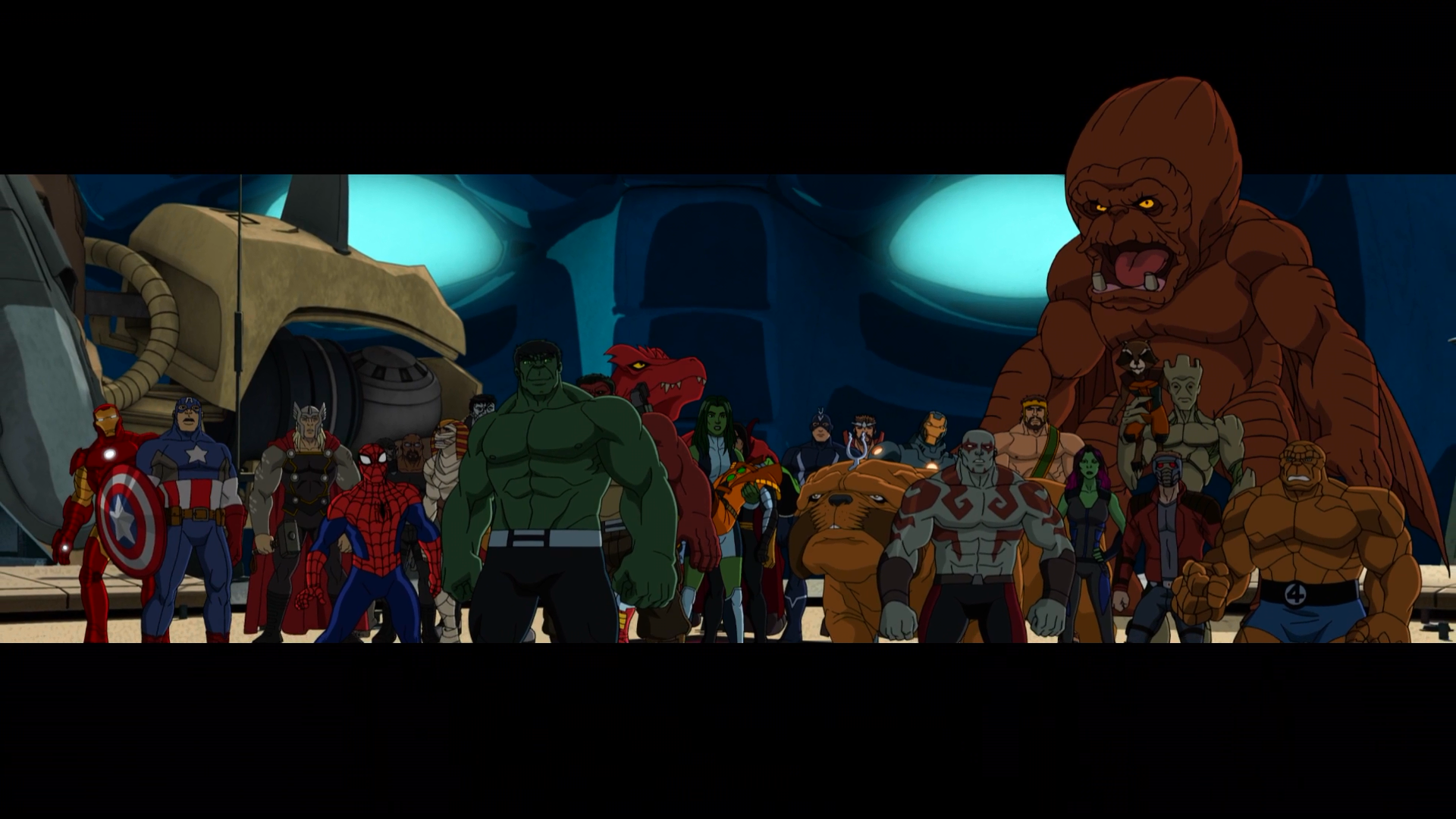S.M.A.S.H., Avengers, Guardians of the Galaxy, Howling Commandos & Inhumans (Earth-12041) from Hulk and the Agents of S.M.A.S.H. Season 2 26 001.png