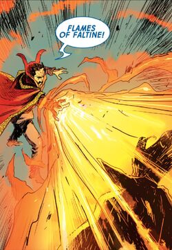 Stephen Strange (Earth-616) and Flames of the Faltine from Doctor Strange Vol 1 386 001.jpg