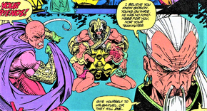 Gideon (Earth-616) and Garbha-Hsien (Earth-616) from X-Force Vol 1 23 001.png
