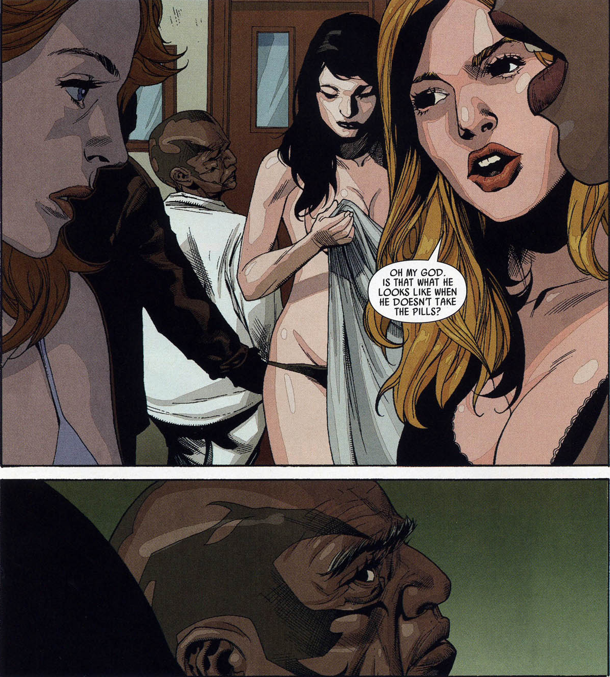 Leonard Williams (Earth-1610) Tyrone Cash de-Hulked with girls Ultimate Avengers vs. New Ultimates Vol 1 5.png