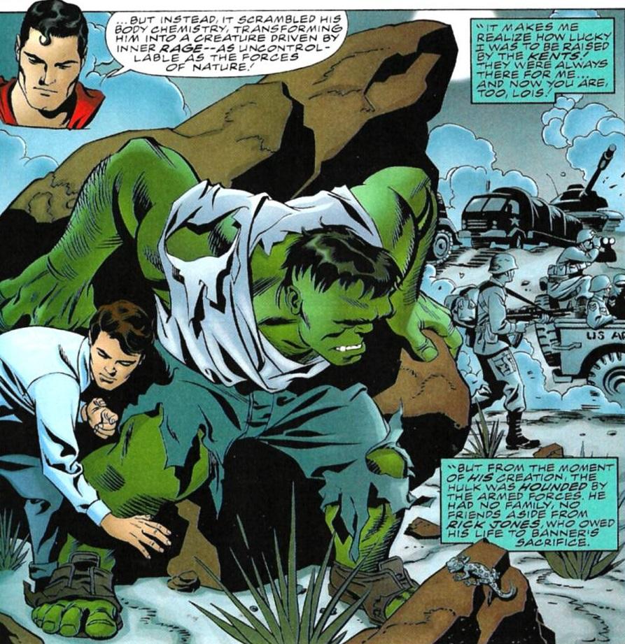 Bruce Banner (Earth-7642), Richard Jones (Earth-7642), and United States Army (Earth-7642) from Incredible Hulk vs. Superman Vol 1 1 001.jpg