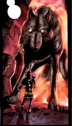 Garm (Earth-616) and Loki Laufeyson (Kid Loki) (Earth-616) from Journey into Mystery Vol 1 632 0001.png