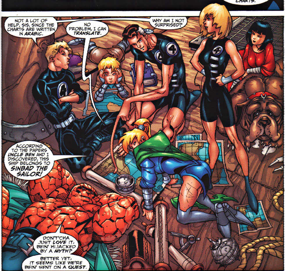 Fantastic Four (Earth-616), Franklin Richards (Earth-616), Valeria von Doom (Earth-99315), Puppy (Earth-616), and Alysande Stuart (Earth-9809) aboard Sinbad's ship from Fantastic 4th Voyage of Sinbad Vol 1 1.jpg