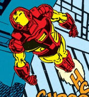 Anthony Stark (Earth-616) with Space Armor MK II from Iron Man Vol 1 278 002.jpg