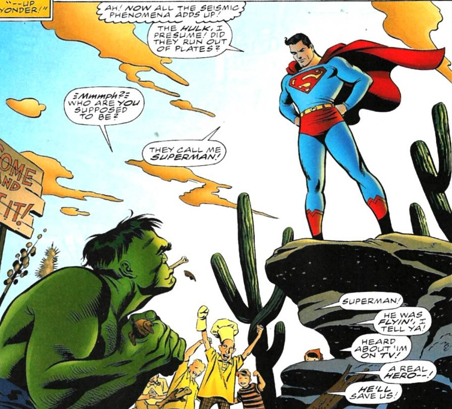 Bruce Banner (Earth-7642) and Kal-El (Earth-7642) from Incredible Hulk vs. Superman Vol 1 1 001.jpg