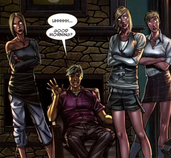 Joshua Foley (Earth-616) and Stepford Cuckoos (Earth-616) in X-Force Vol 3 7 001.jpg