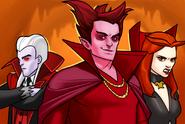 Mephisto (Earth-TRN562), Vlad Dracula (Earth-TRN562) and Satana Hellstrom (Earth-TRN562) from Marvel Avengers Academy 001