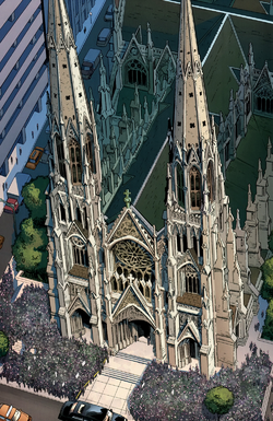 Saint Patrick's Cathedral - Funeral of Peter Parker (Earth-1610) from Ultimate Fallout Vol 1 1 001.png