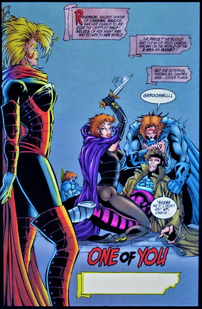 Candra (Earth-616) John Domingo (Earth-93060) Remy LeBeau (Earth-616) Rhiannon (Earth-93060) from Night Man and Gambit Vol 1 -3.png