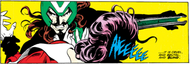 Slaymaster (Earth-616) and Elizabeth Braddock (Earth-616) from Captain Britain Vol 2 13 001.png