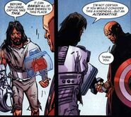 Rom (Earth-9997) and Steven Rogers (Earth-9997) from Universe X Vol 1 3 0001