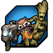 Groot (Earth-TRN562) and Rocket Raccoon (Earth-TRN562) from Marvel Avengers Academy 002