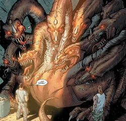 Ares (Earth-616) and Lernean Hydra (Earth-616) from Incredible Hercules Vol 1 113 001.jpg