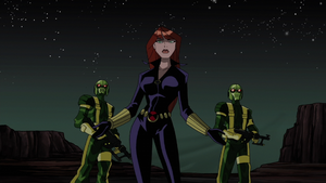 Natasha Romanoff (Earth-8096) and Hydra (Earth-8096) from Avengers Micro Episodes The Hulk Season 1 4 001.png